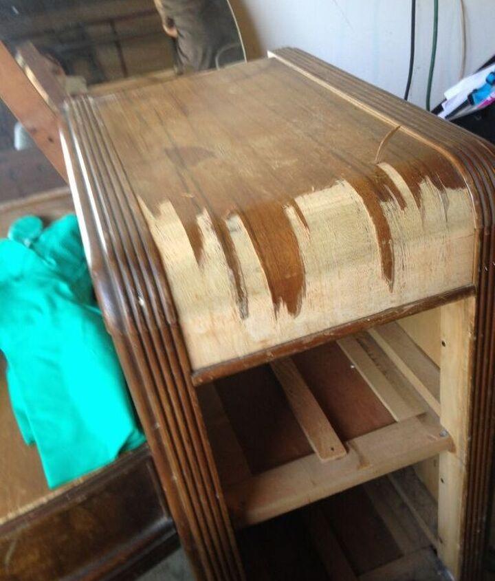Removing the veneer.