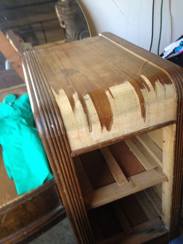 Staining Wood Vanity Vintage Renew Painted Furniture Removing The Veneer