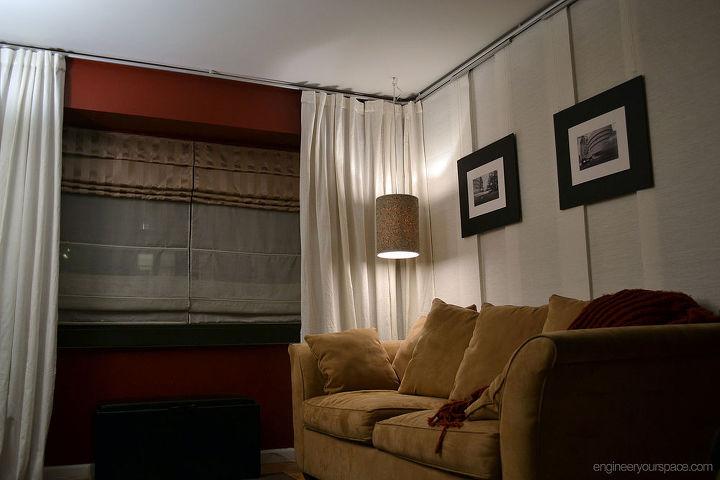 nyc studio apartment makeover hanging room divider hometalk