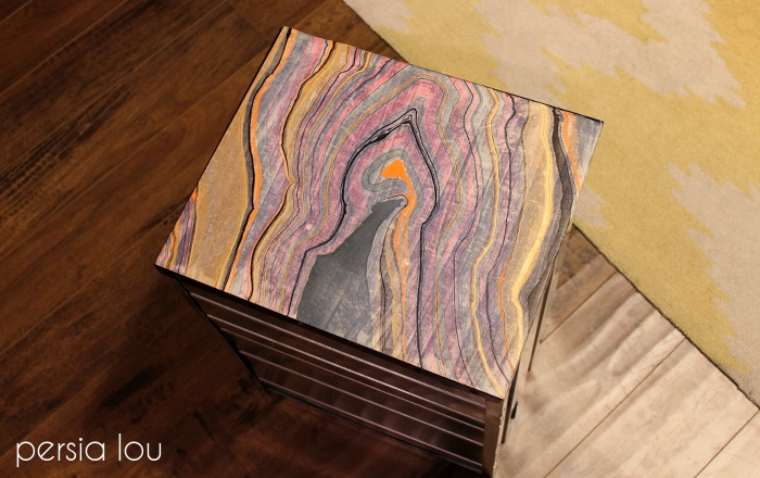 decoupage filing cabinet marble, decoupage, home office, painted furniture