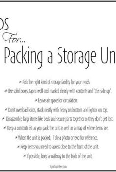 organizing storage unit tips, organizing, storage ideas