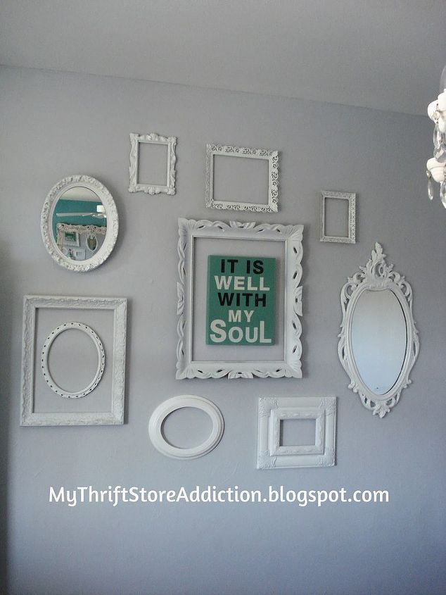 shabby chic dining room frames white grey, dining room ideas, home decor, painting, repurposing upcycling, wall decor