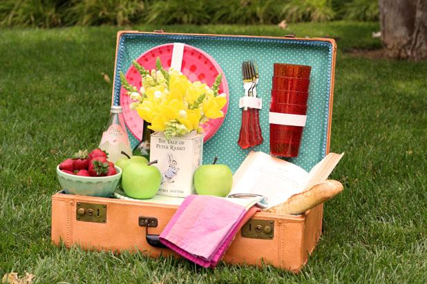 vintage suitcase picnic basket repurpose, repurposing upcycling