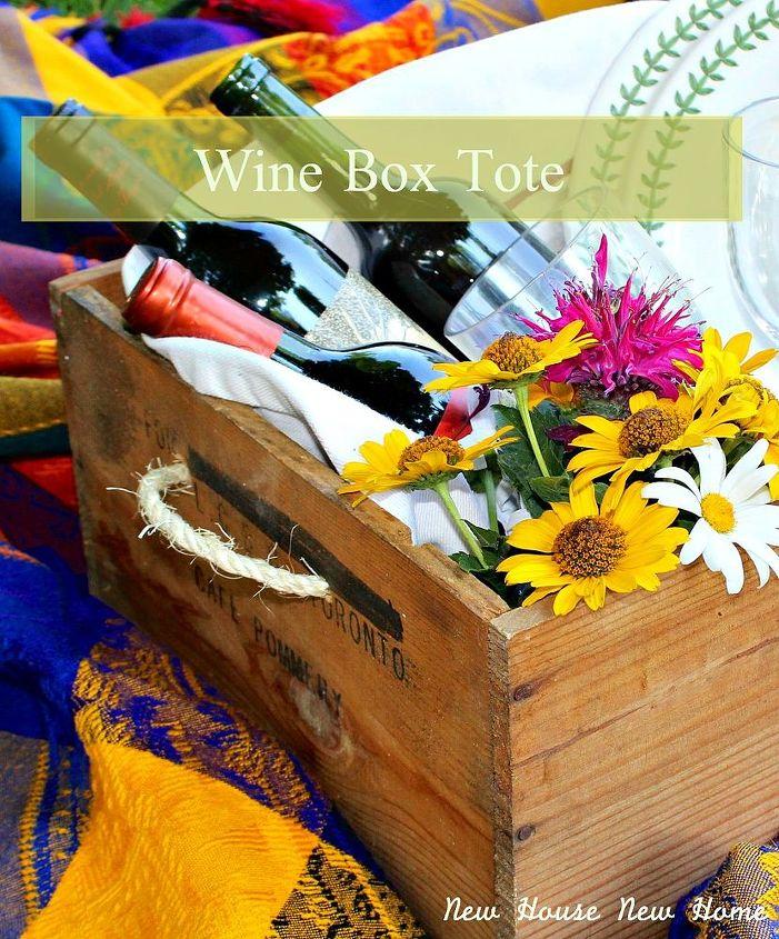 diy wine box tote, repurposing upcycling