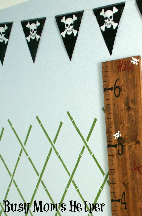 wall stencil pirate boys bedroom theme, bedroom ideas, home decor, painting, wall decor