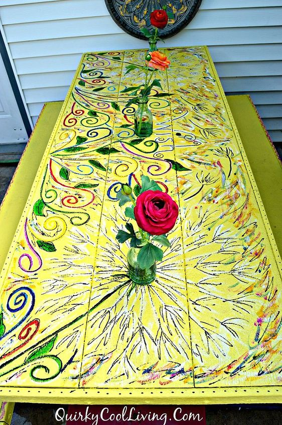 Picnic Table Gets A Floral Paint Makeover Hometalk