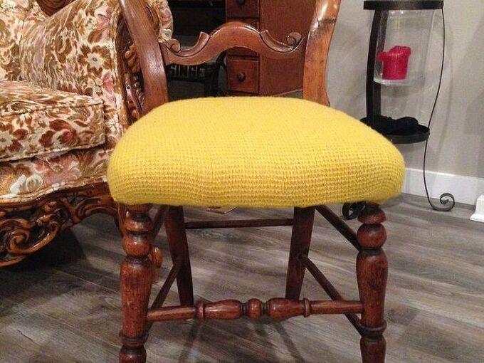 reupholster chair sweater shrunken repurpose, painted furniture, reupholster