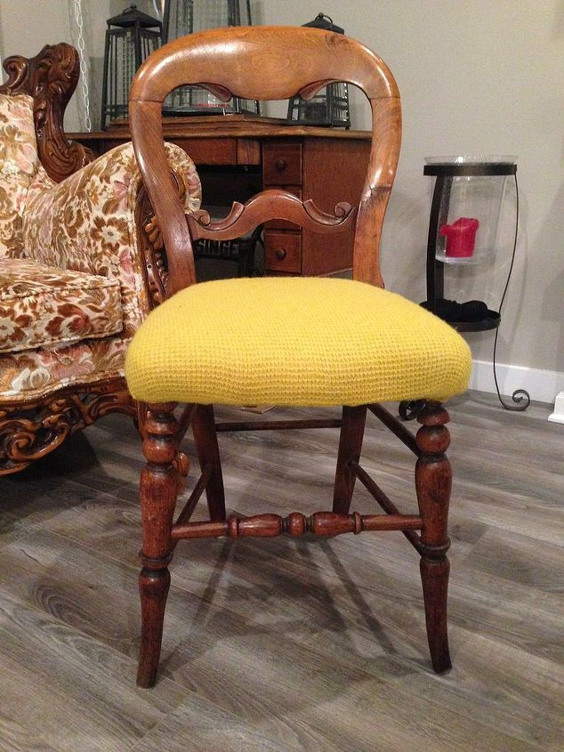 reupholster chair sweater shrunken repurpose, painted furniture, reupholster