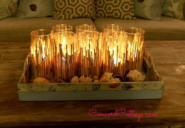 diy candleholders bamboo coastal, crafts, home decor, repurposing upcycling