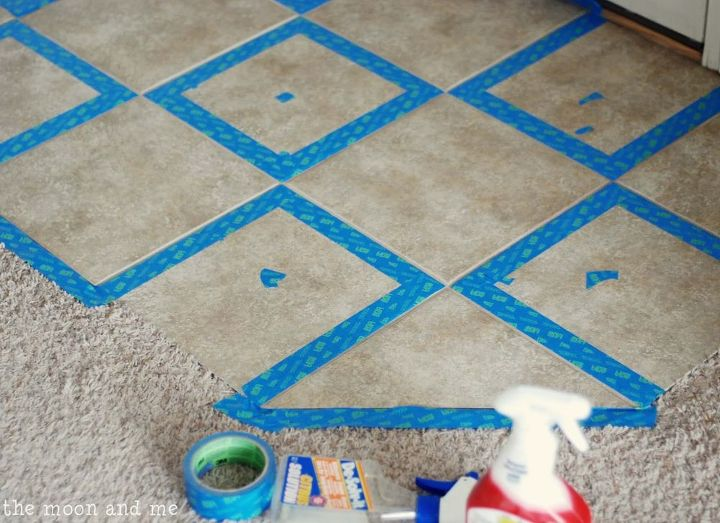 painting tile ceramic floor, chalk paint, diy, flooring, painting, tile flooring