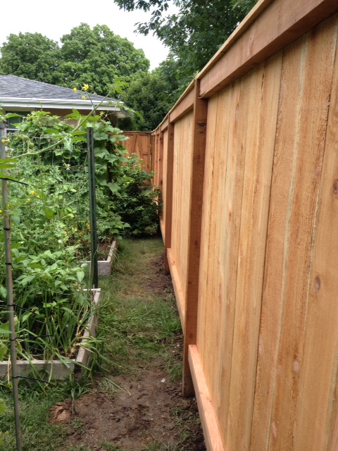 woodworking correcting poorly installed fence, fences, home maintenance repairs, how to, woodworking projects, Shows length of fence can not see the gap or bottom rail placement here but shows the lindeof the fence