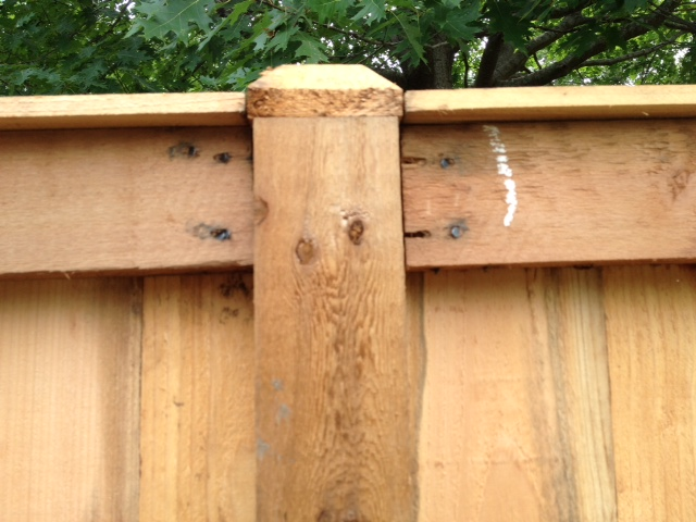 woodworking correcting poorly installed fence, fences, home maintenance repairs, how to, woodworking projects, Another fence post view