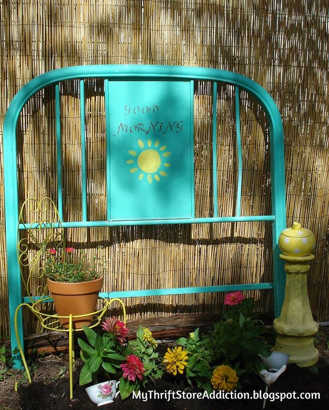 garden ideas repurposed headboard flower bed, flowers, gardening, repurposing upcycling