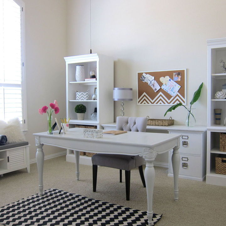 Shabby Chic Office Makeover White Bright Home Decor