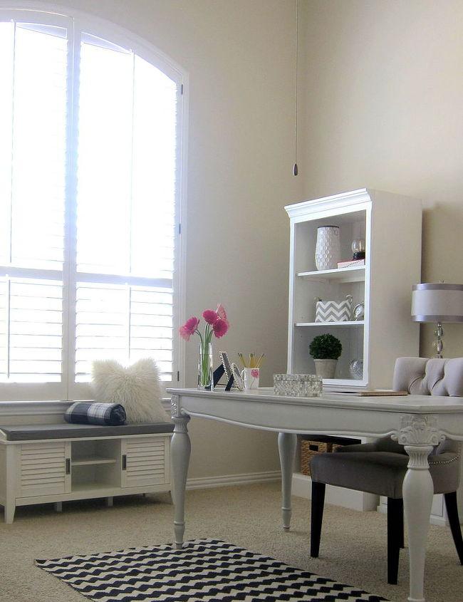 Shabby Chic Office Makeover White Bright Home Decor