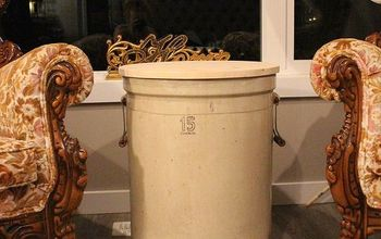 antique crock side table, painted furniture, repurposing upcycling