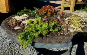 hypertufa planter fire pit tutorial, gardening, repurposing upcycling