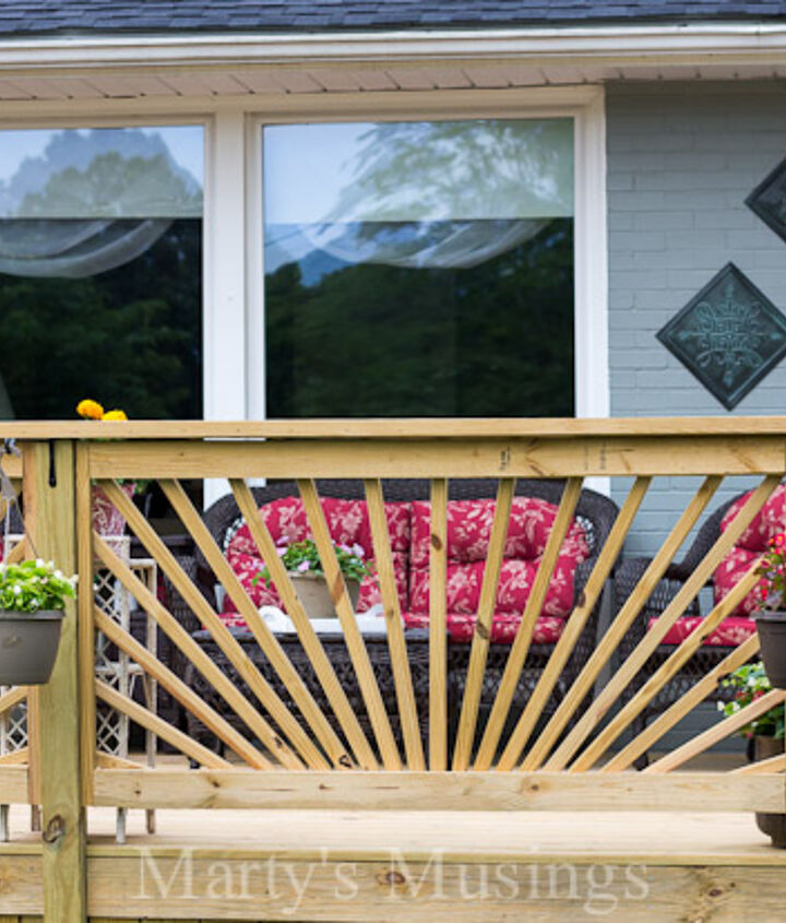 make your deck unique with a sunburst deck railing, decks, diy, woodworking projects