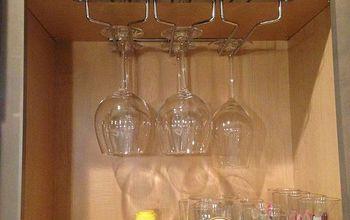 ten minute wine glass storage fix, kitchen cabinets, kitchen design, shelving ideas, storage ideas