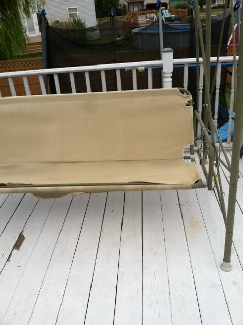 patio swing broken fix ideas, outdoor furniture, outdoor living, here is a photo of the swing