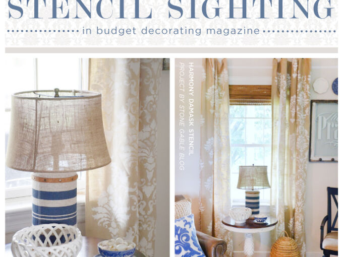 stencil sighting in budget decorating magazine, home decor, living room ideas, painting, window treatments