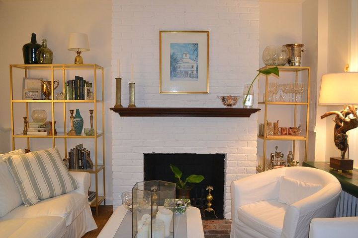Painted Brick Fireplace White Redo Concrete Masonry Home Decor Living Room Ideas