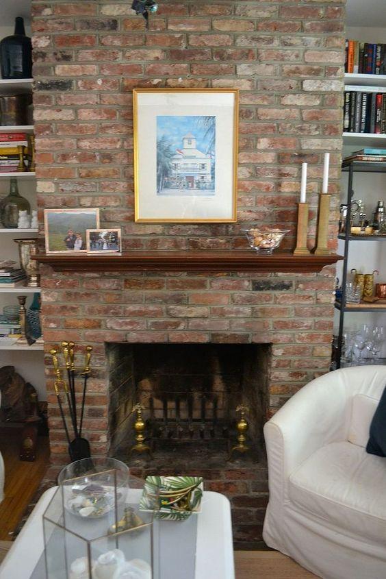 painted brick fireplace white redo, concrete masonry, home decor, living room ideas, painting, Before