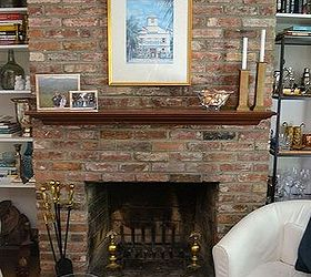 Painted Brick Fireplace White Redo, Concrete Masonry, Home Decor, Living  Room Ideas,