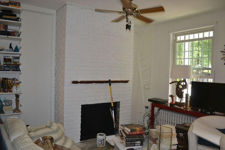 painted brick fireplace white redo, concrete masonry, home decor, living room ideas, painting