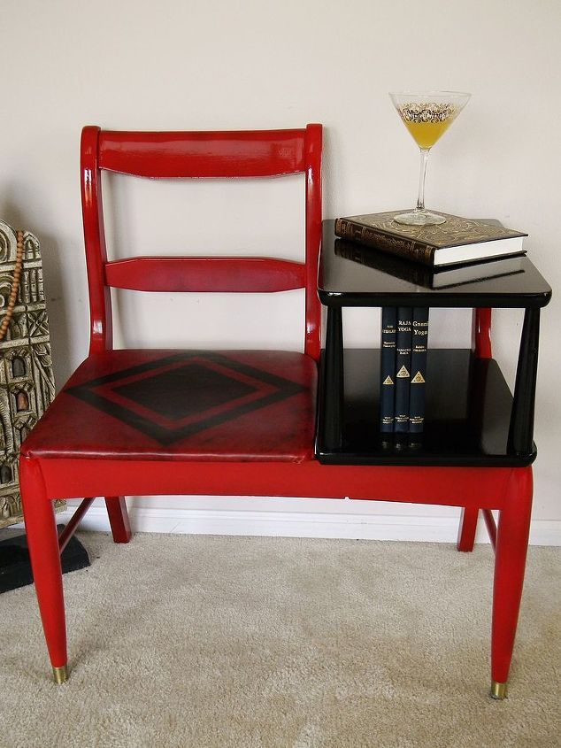 painted furniture telephone chair vintage unique, painted furniture,  repurposing upcycling - Unique Vintage Telephone Chair Makeover Hometalk