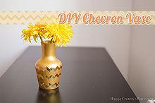 diy chevron vase acrylic paint, crafts, home decor
