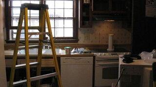 q kitchen design ideas strange layout help, doors, kitchen design, The builder grade before cabinets YUK