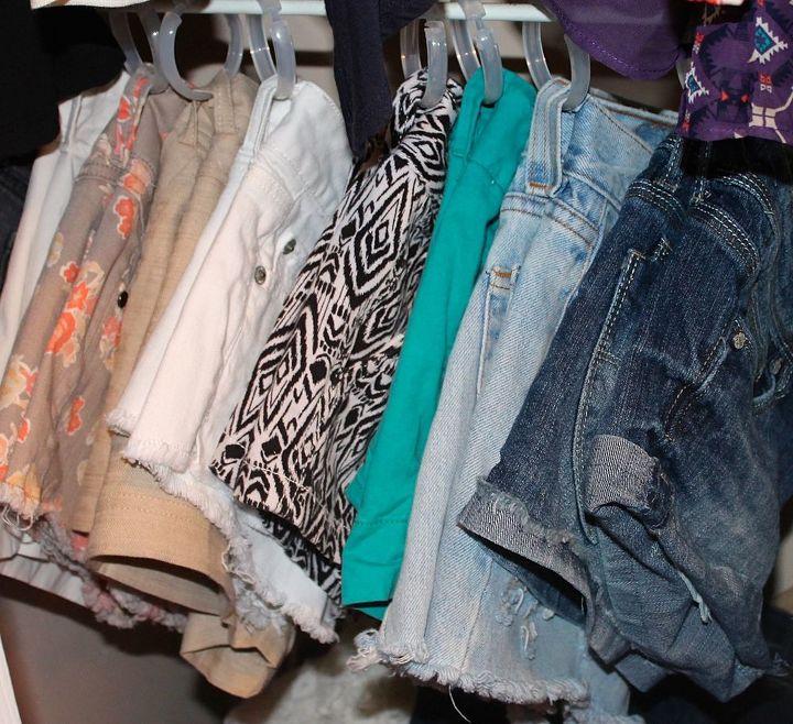 diy shorts hanger, closet, organizing