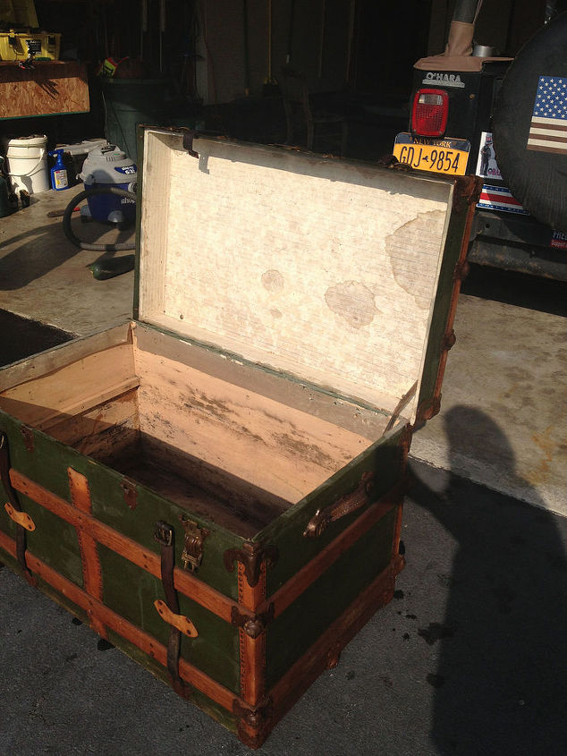 antique steamer trunk turned coffee table, painted furniture, repurposing upcycling, woodworking projects