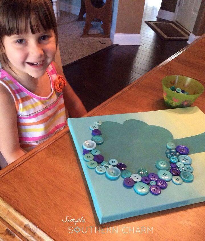 crafts button tree tutorial kids, crafts
