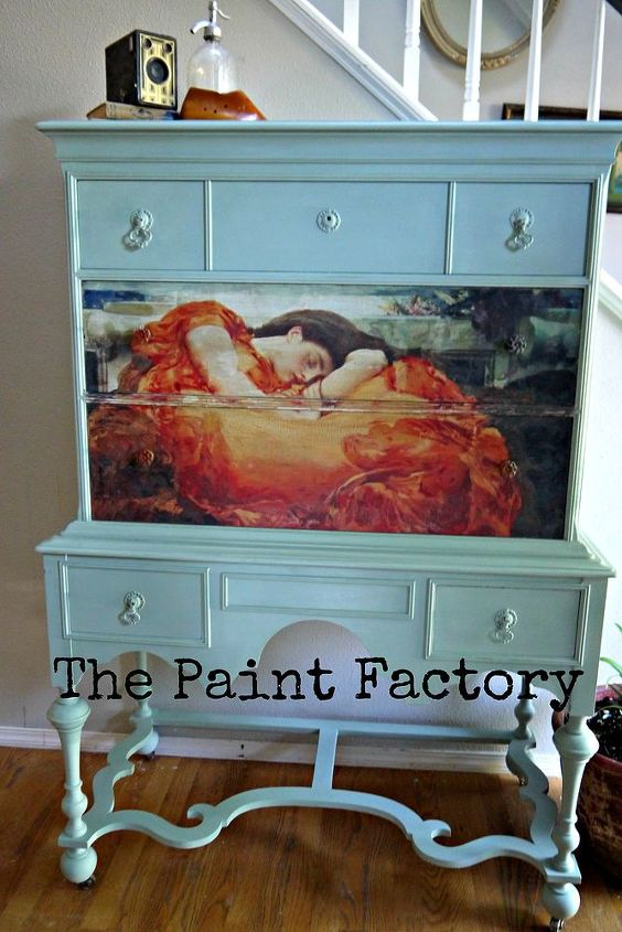 painted furniture dresser flaming june image transfer, chalk paint, foyer, painted furniture