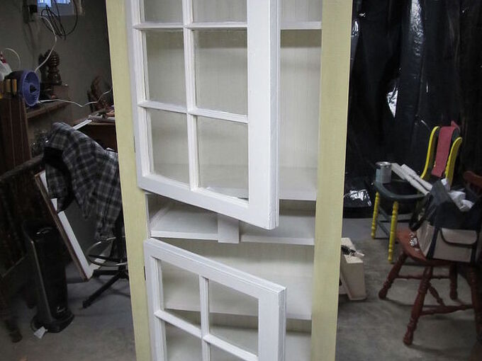 kitchen cupboard windows waterbed lumber upcycle, closet, diy, kitchen design, painted furniture, repurposing upcycling, windows, woodworking projects