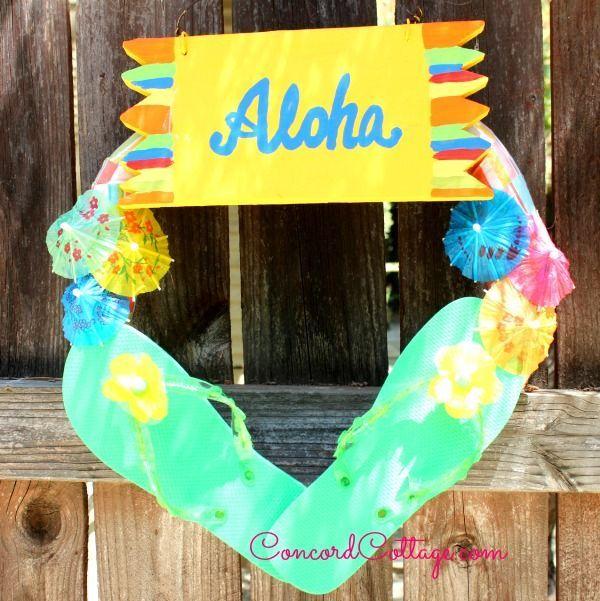 diy wreath summer luau flip flop, crafts, outdoor living, wreaths