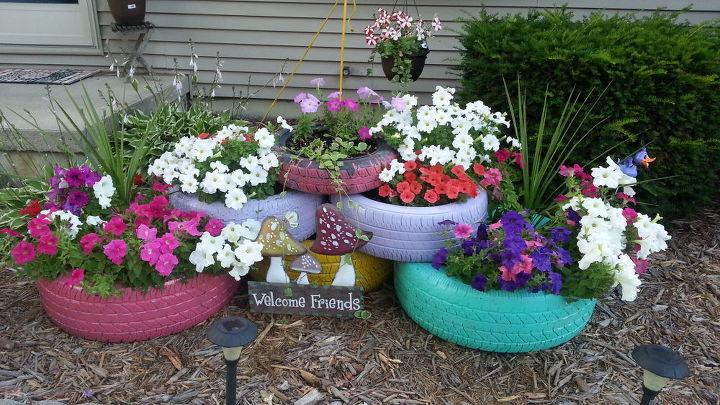 Colorful Garden Tire Planters Hometalk
