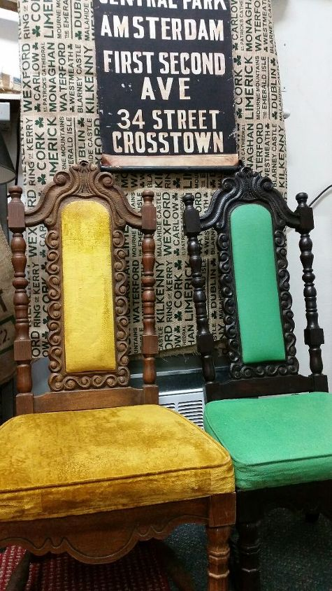 painting fabric with chalk paint, chalk paint, painted furniture, reupholster, Yellow Chair Before and Green After Painting