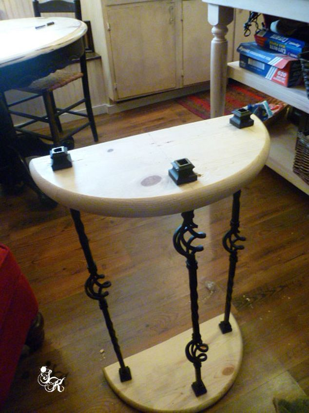 painted furniture bathroom half table makeover, bathroom ideas, small bathroom ideas, storage ideas, woodworking projects
