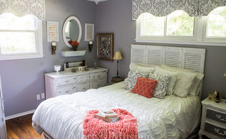 gray and coral bedroom makeover diy and thrift from top to bottom, bedroom ideas, home decor