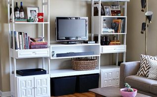see how we used a 79 craigslist find to transform this wall, diy, home decor, living room ideas, painted furniture, repurposing upcycling, shelving ideas, storage ideas