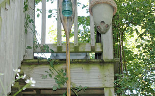 mason jar solar light on old oar, mason jars, outdoor living, repurposing upcycling