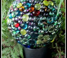 easy diy project bowling ball garden accent, crafts, gardening, repurposing upcycling, Bowling Ball Garden Accent