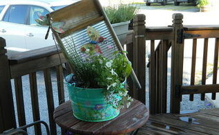 turn an old bucket and washboard into a beautiful planter, container gardening, gardening, repurposing upcycling, Grandma s bucket and washboard planter