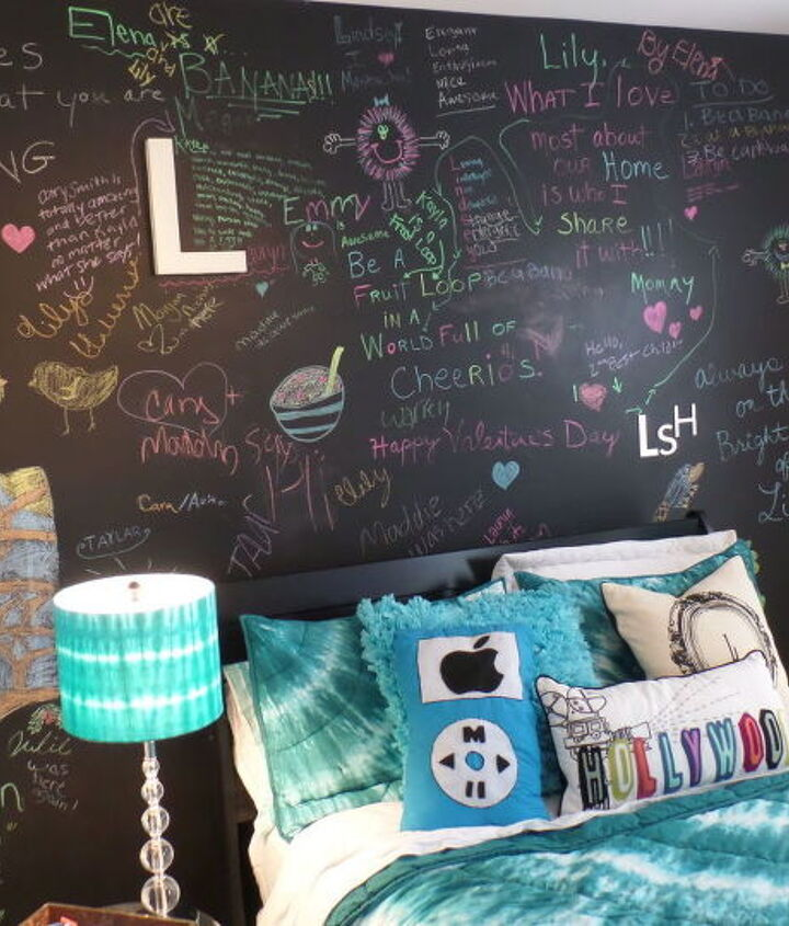Updated Chalkboard Feature Wall for Teen Girl