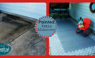 patio ideas painted floor makeover, flooring, outdoor living, painted furniture, painting, patio