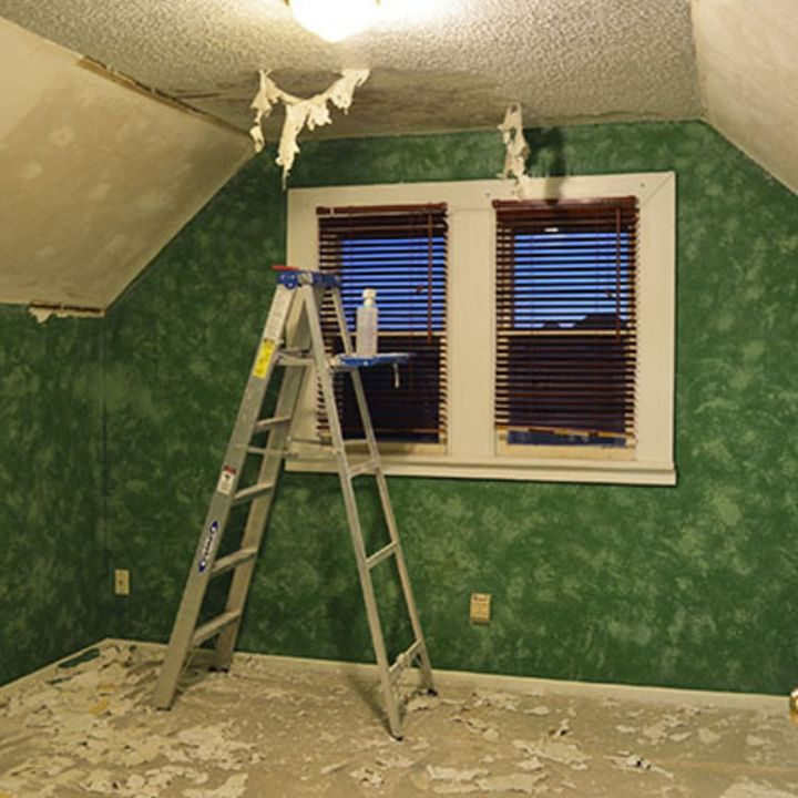 how to popcorn ceiling removal, diy, home maintenance repairs, how to, wall decor, Removing popcorn ceiling