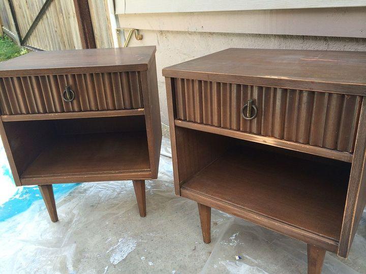 painted fruniture nightstands midcentury modern coral, painted furniture